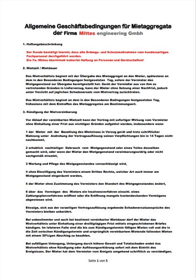 Allgemeine Geschäftsbedingungen für Mietaggregate // PDF