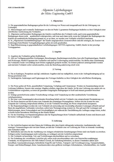 Allgemeine Lieferbedingungen der Mittes Engineering GmbH // PDF
